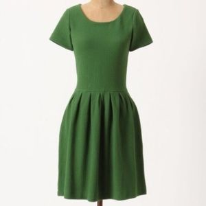 Anthropologie Bright Green Fit and Flare Dress